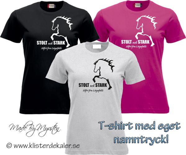 T shirt icelandic horse stolt och stark your name print