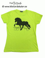 T-shirt i gul NEON. Simply the best, Islandshäst