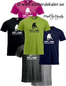 T-shirt Jack Russell Terrier. Stolt och Stark  (27 olika färgval, dam och unisex/herr)