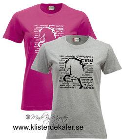 T-shirt Lycka Tölt Islandshäst.  (27 olika färgval, dam och unisex/herr)