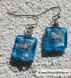 Earrings in glass with Swarovski stones