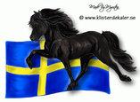 Islandshäst med Svenska flaggan, bildekor