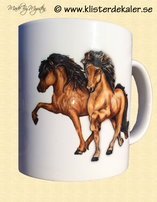 Mug with Icelandic horse design.