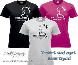 T-shirt Icelandic horse, stolt och stark Your name print