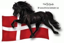 Islandshäst med Danmarks flagga, bildekor
