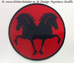 Round reflective decal with double Icelandic Red